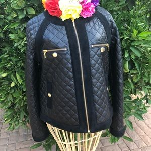 Antonio Melani black leather blazer jacket size S.